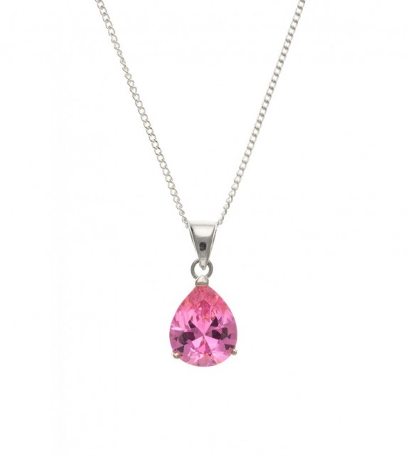 Cubic Zirconia Pink Pear Pendant & Chain