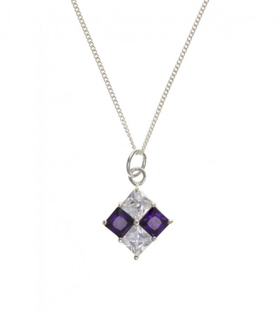 Silver Amethyst and Clear Cubic Zirconia Pendant & Chain