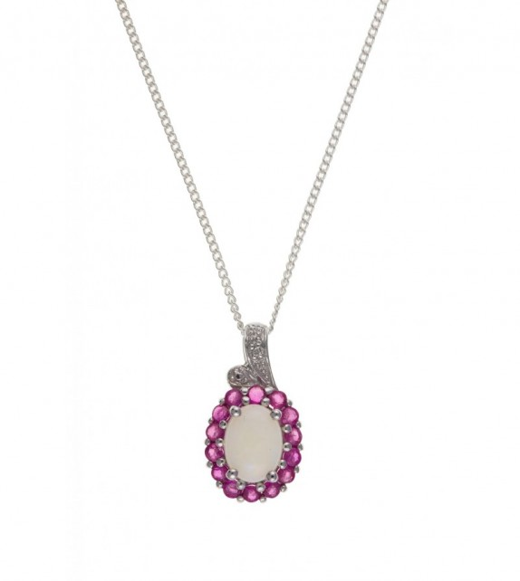 Opal Ruby & Diamond Pendant