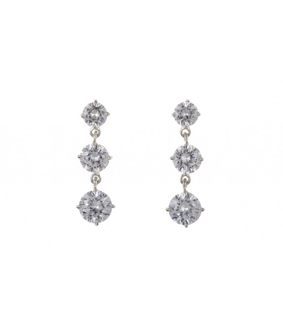 Cubic Zirconia 3 Stone Drop Earrings
