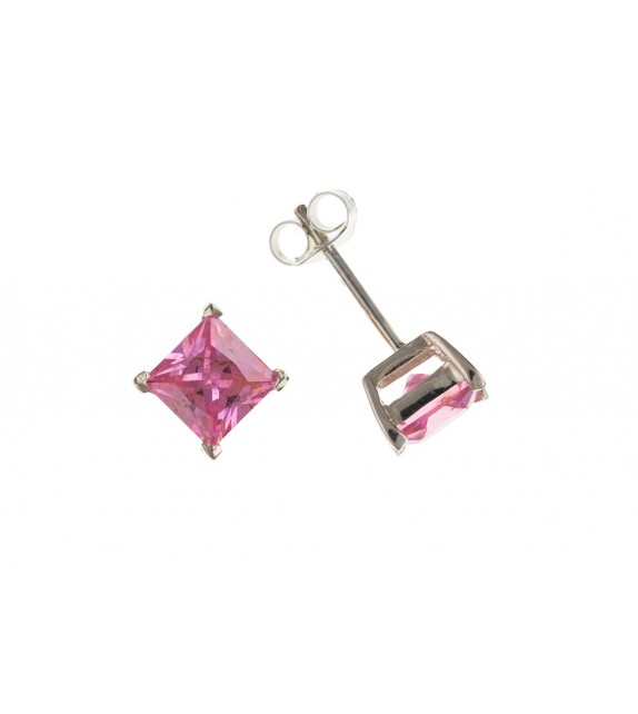 Cubic Zirconia Pink Square Studs