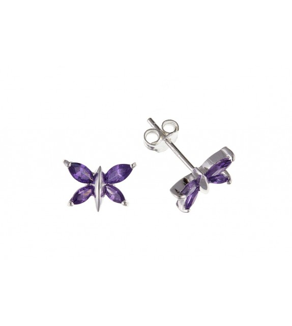 Amethyst Zirconia Purple Butterfly Earrings