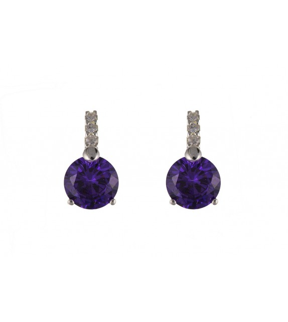 Silver Amethyst and Clear Cubic Zirconia Studs