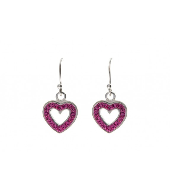 Pink Crystal Open Heart Drop