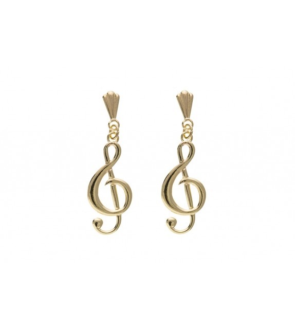 9ct Treble Clef Drop Earrings