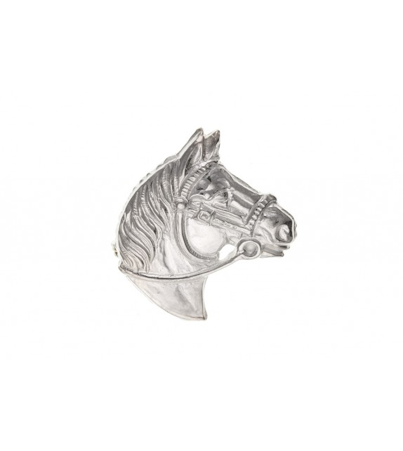 Silver Horse Head Brooch