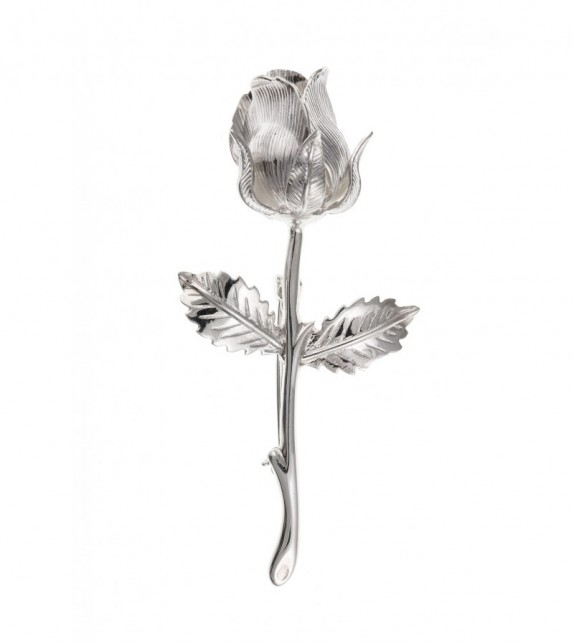 Silver Rose Brooch