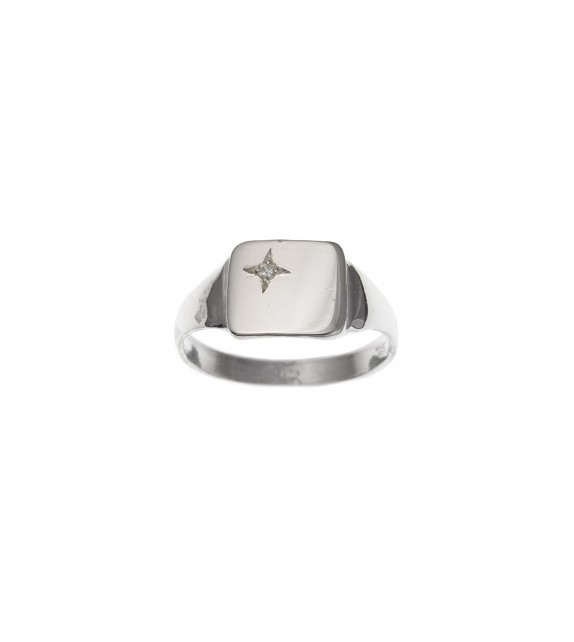 Silver Cushion Cubic Zirconia Signet Ring