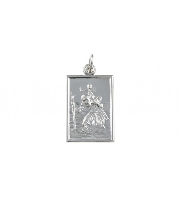 Silver Oblong St. Christopher Medal