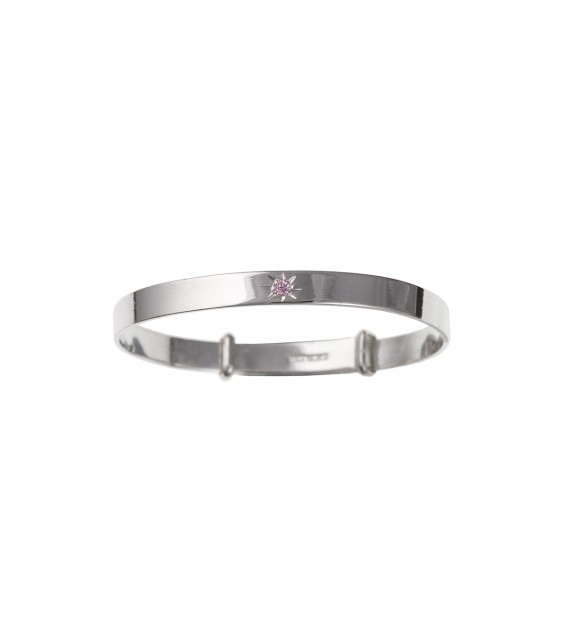 Pink Cubic Zirconia Plain Expanding Bangle